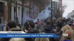 Protesters and police clash blocks from parade route in Washington