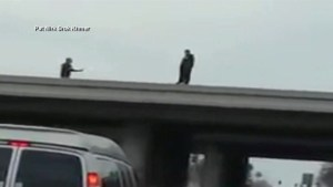 U.S. police officer pulls man away from bridge's edge caught on camera