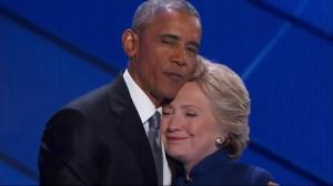 Hillary Clinton surprises President Obama on stage at Democratic National Convention