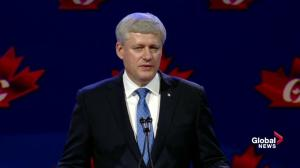 Former prime minister Stephen Harper says the new Conservative Party remains financially strong