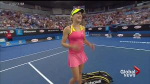 Canadian tennis star Eugenie Bouchard asked to twirl at Australian Open