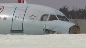 Raw Video: Damage visible day after Air Canada flight crashes in Halifax