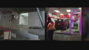 SUV drives through NE Calgary pizza shop