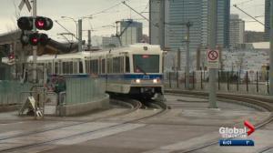 Edmonton's Metro Line LRT running at full speed