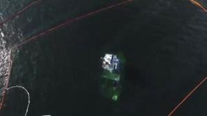 Drone footage shows Bella Bella tug boat diesel spill