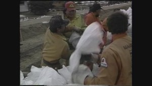 Archive footage: Volunteers sandbag town of Ste. Agathe, hoping to stop the river