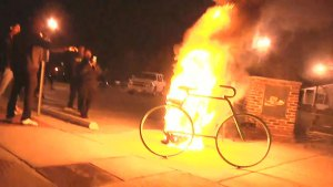 Fire set in trash can during Ferguson protests