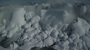 Stunning aerial view of Niagara Falls frozen over