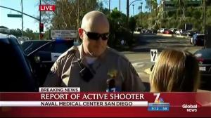 Police conducting room to room searches at San Diego naval medical centre following active shooter call