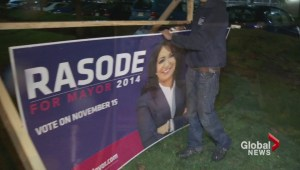 Election signs tampered with.