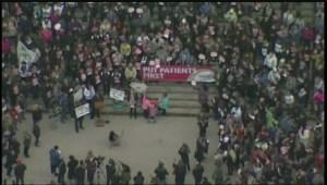 Nurses rally for safe patient care at Manitoba legislature