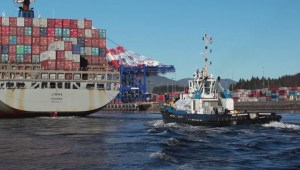 Simushir ship being towed to Prince Rupert