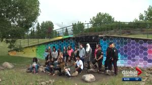 Edmonton students gain learning experience by giving facelift to graffiti-covered bridge