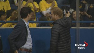 Prince Harry gives away puck at sledge hockey game for Invictus Games kickoff