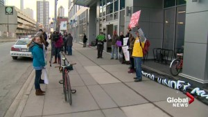 Pipeline opponents protest in advance of NEB hearing in Calgary