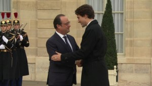 Trudeau meets French President before climate talks