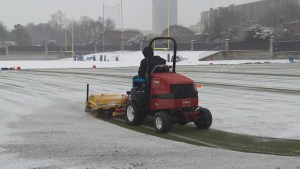 Carolina Panthers practice in snowy conditions