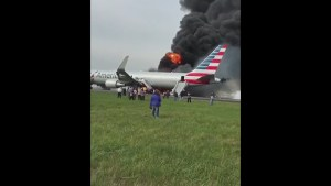 American Airlines plane blows tire, catches fire during takeoff at Chicago's O'Hare Airport