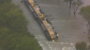 Aerial footage of train derailment caused by flooding in Texas
