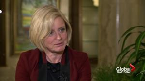 Alberta Premier-designate Rachel Notley speaks to Global News about NDP win