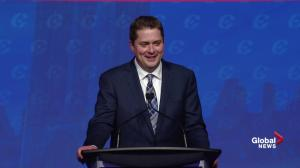 Andrew Scheer thanks Rona Ambrose, Stephen Harper in acceptance speech