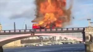 Iconic double-decker bus 'explodes' in downtown London