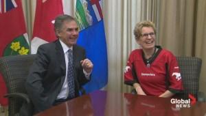 Ontario Premier wears Calgary Stampeders jersey after losing Grey Cup bet