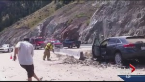 Highway 97 rock slide debris being removed