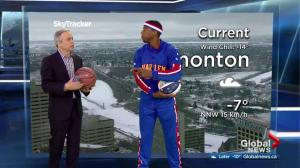 Harlem Globetrotter joins Mike Sobel for weather segment