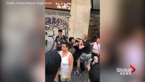 Far right protesters clash with anti-fascist counter protesters in Barcelona day after attack