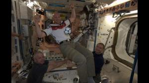 Stills: German astronaut watches World Cup match in space