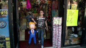 Latino community in California make Donald Trump pinatas to vent frustration