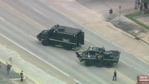 Aerial video of shooting standoff in Texas