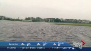 Soccer field in Chestermere turned into a lake