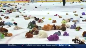 Tossing teddy bears with the Toronto Marlies