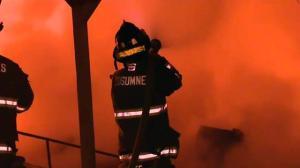 Raw video: Massive marina fire in California