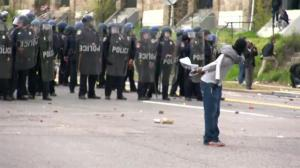 On the ground: violent clash in Baltimore between police, protesters