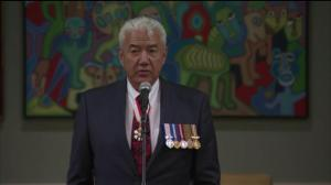 Metis-Canadian actor Tom Jackson delivers closing remarks at Order of Canada ceremony