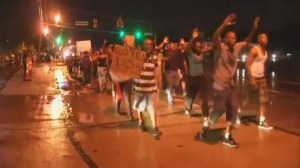 A calmer night of protests in Ferguson