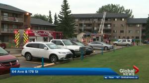 Fire breaks out at west Edmonton apartment building