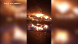 A fire rages in the Grand Bahia Principe Tulum resort in Mexico's Riviera Maya