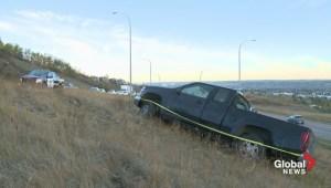 Sarcee Trail ice creating unusual traffic hazard