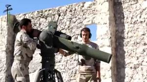 Video posted to social media allegedly shows Syrian rebels blowing up an Assad fighter jet