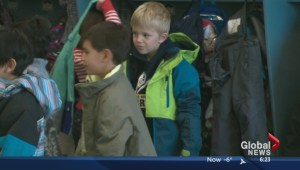 Grade 1 students collecting Coats For Kids