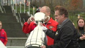 Grey Cup brought to Vancouver