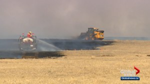 Grass fire west of Saskatoon