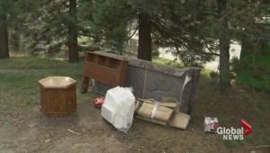 Garbage piling up around charity bins