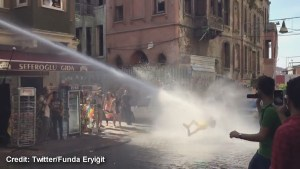Turkish police blast gay pride day supporter with water cannon, knocking him off his feet