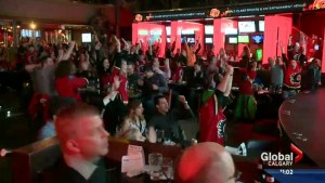Calgarians celebrate Flames series lead