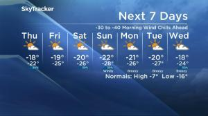 -40 wind chills in Saskatoon's forecast as the polar vortex moves in